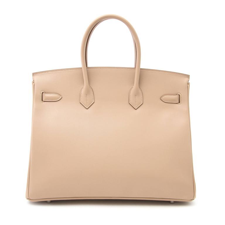 Beige Brand new Hermès Birkin 35 Guilloche Tadelakt Argile For Sale