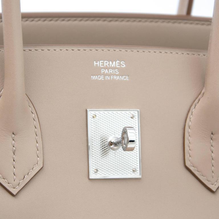 Brand new Hermès Birkin 35 Guilloche Tadelakt Argile In New Never_worn Condition For Sale In Antwerp, BE