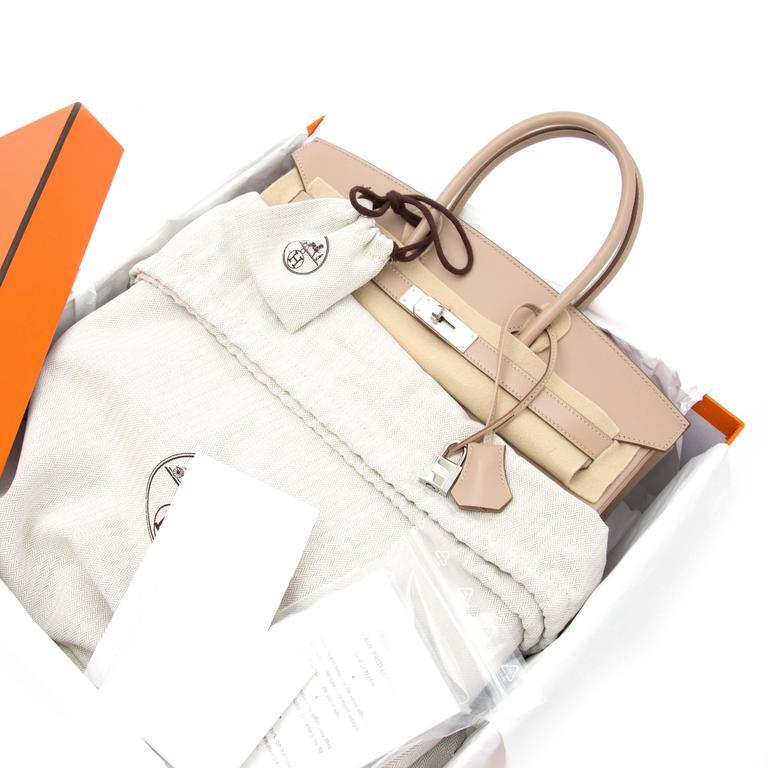 Brand new Hermès Birkin 35 Guilloche Tadelakt Argile For Sale 1
