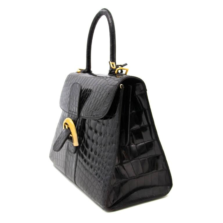 Delvaux Black Croco Brillant MM In Good Condition For Sale In Antwerp, BE