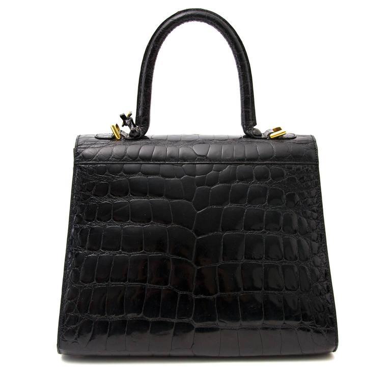 Women's Delvaux Black Croco Brillant MM For Sale