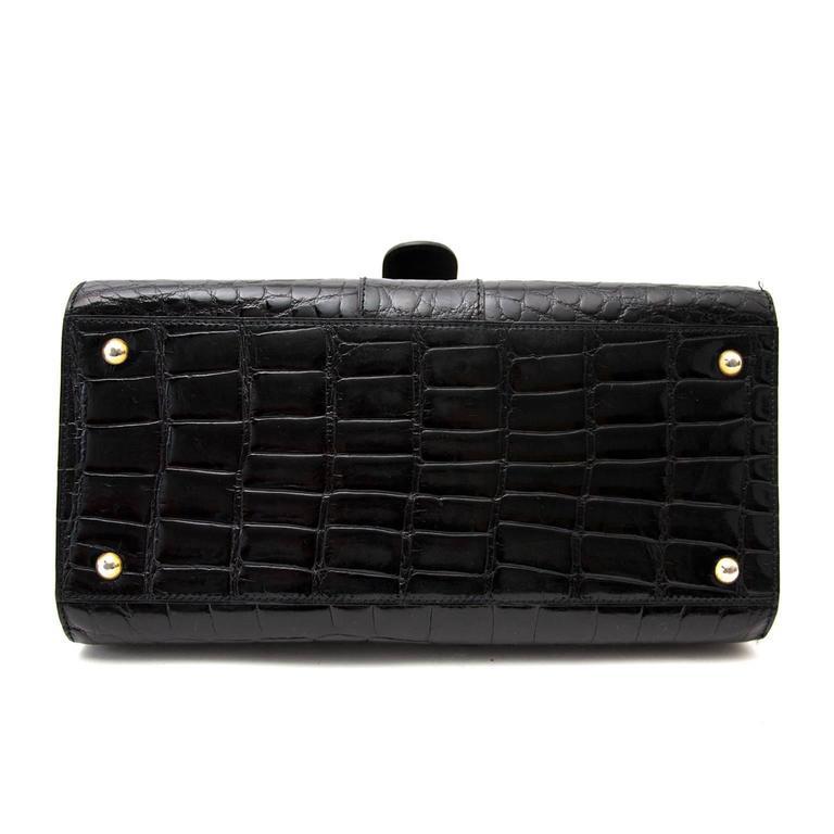 Delvaux Black Croco Brillant MM For Sale 1