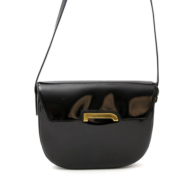 Women's or Men's Delvaux Black Crossbody Bag Patent Leather  For Sale