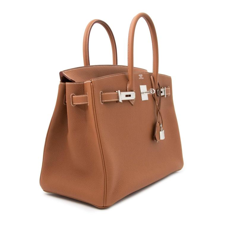 Hermes Birkin 35 Togo Gold PHW  In New Condition For Sale In Antwerp, BE