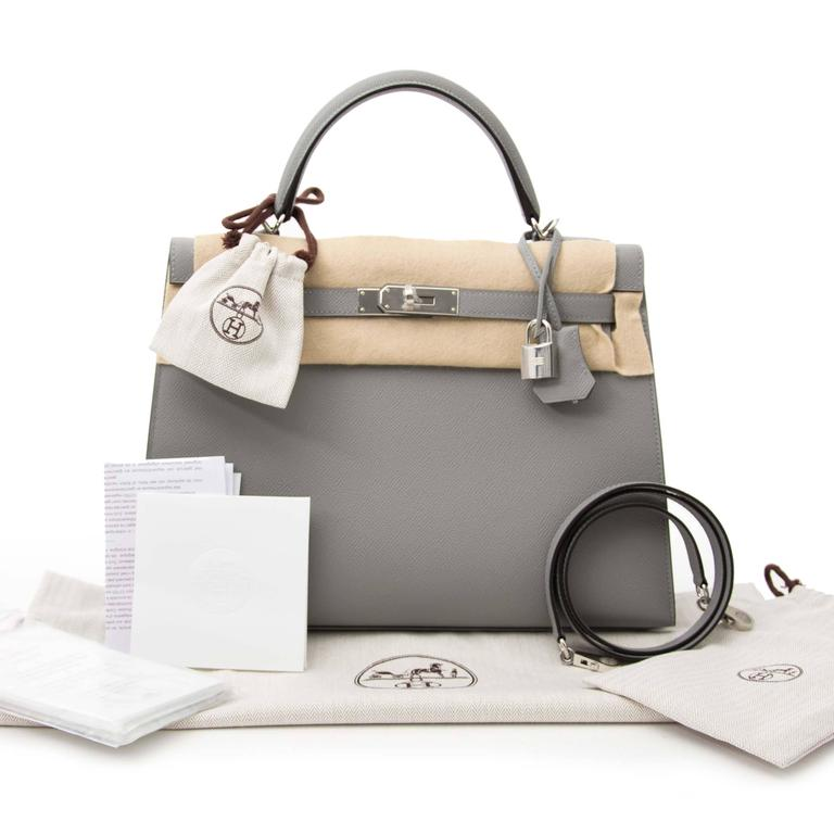 d38bc54302a89 Gray Hermes Kelly Sellier 32 Epsom Gris Mouette PHW For Sale