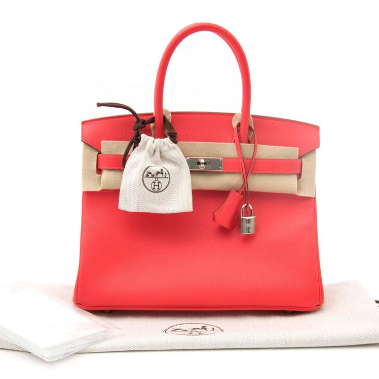 Never Worn Hermes Birkin 30 Rose Jaipur Epsom PHW  The silver-tone hardware emphasizes the timeless and vibrant rose jaipur Epsom leather body. This compressed type of leather holds true to its shape in all instances and is completely resilient to