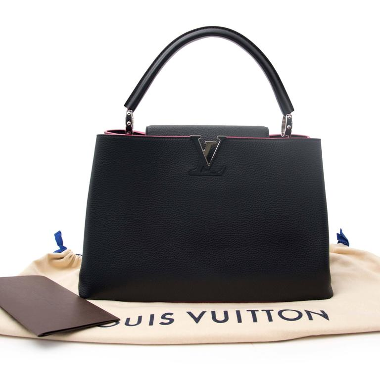 ffac5fda77d Louis Vuitton Black Capucines MM Taurillon Pink Lining
