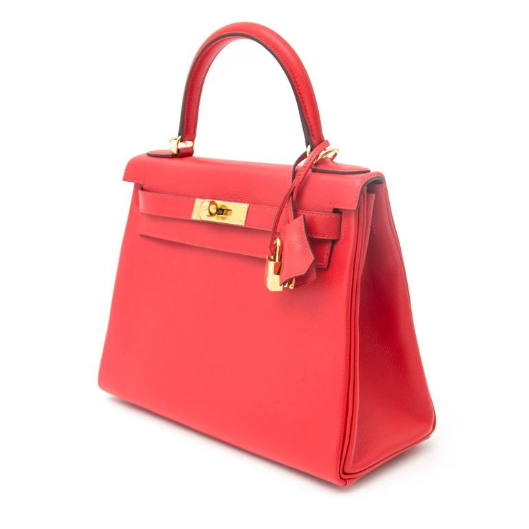 Red Hermes Kelly 28 Capucine Evercolor For Sale