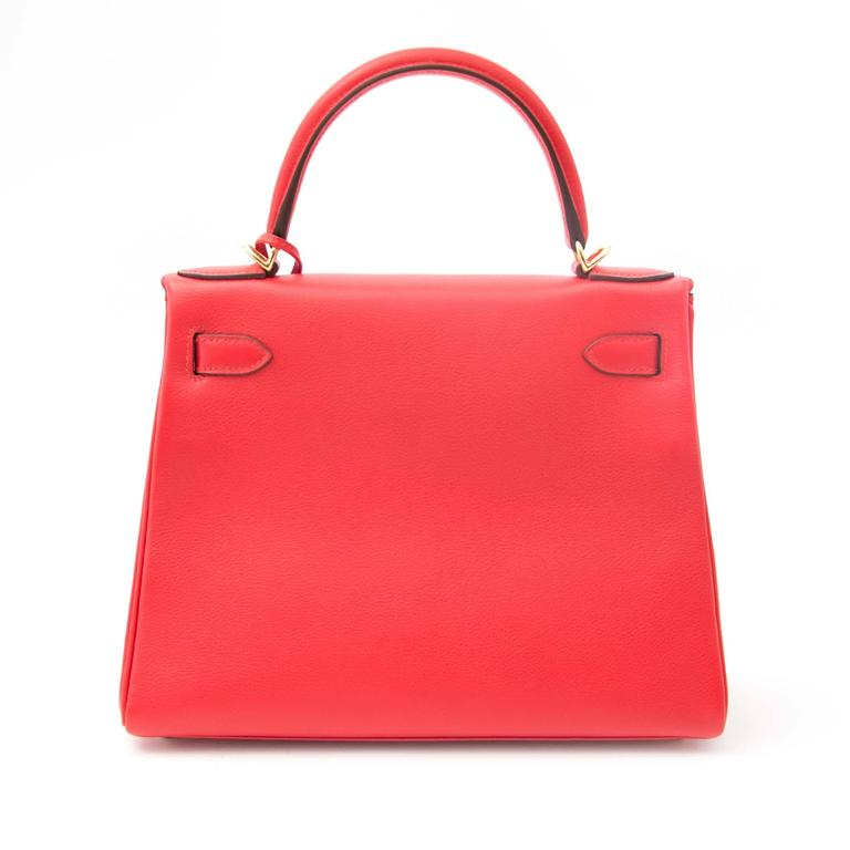 Hermes Kelly 28 Capucine Evercolor In New Condition For Sale In Antwerp, BE