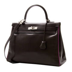 Hermes Dark Brown Box Calf Vintage Kelly
