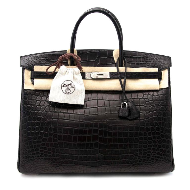 2683ef7d632 Women s or Men s Hermes Birkin 40 Crocodile Porosus Matte Black PHW For Sale