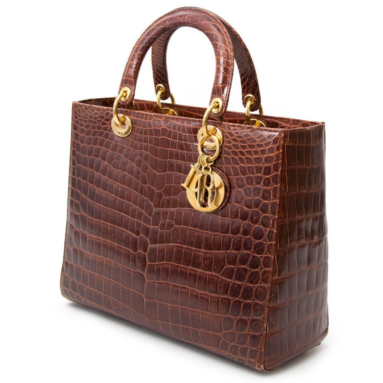 Dior Brown Croco Lady Dior Bag In Excellent Condition For Sale In Antwerp, BE