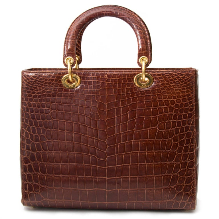Women's or Men's Dior Brown Croco Lady Dior Bag For Sale