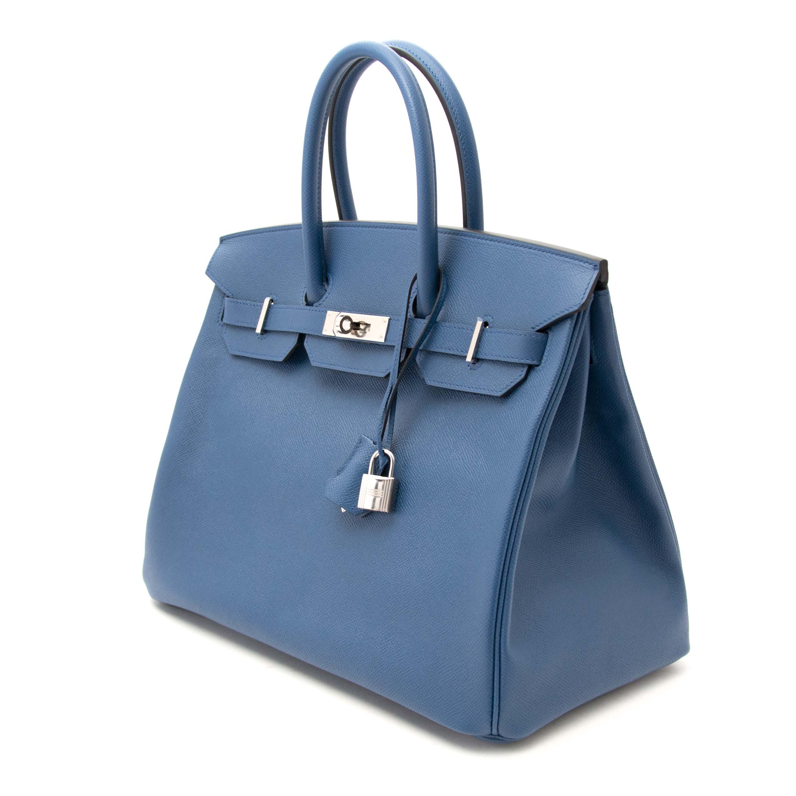 054567e11e6 Never Used Hermes Birkin 35 Epsom Bleu Agate at 1stdibs
