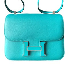 Hermès Constance Verso 24 Bleu Paon & Menthe Epsom with Enamel