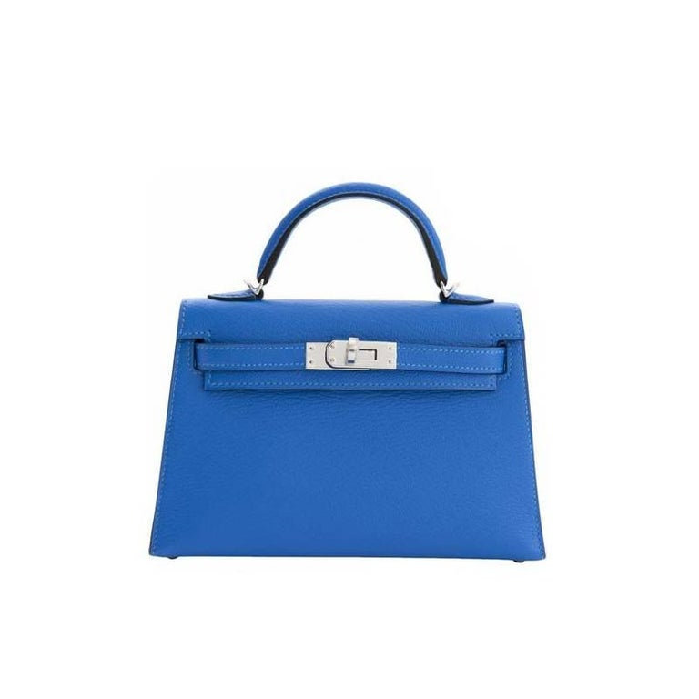 Hermès Kelly 20 Sellier Mini Chèvre Mysore Bleu Hydre For Sale