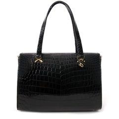 Delvaux Croco Black Evening Bag