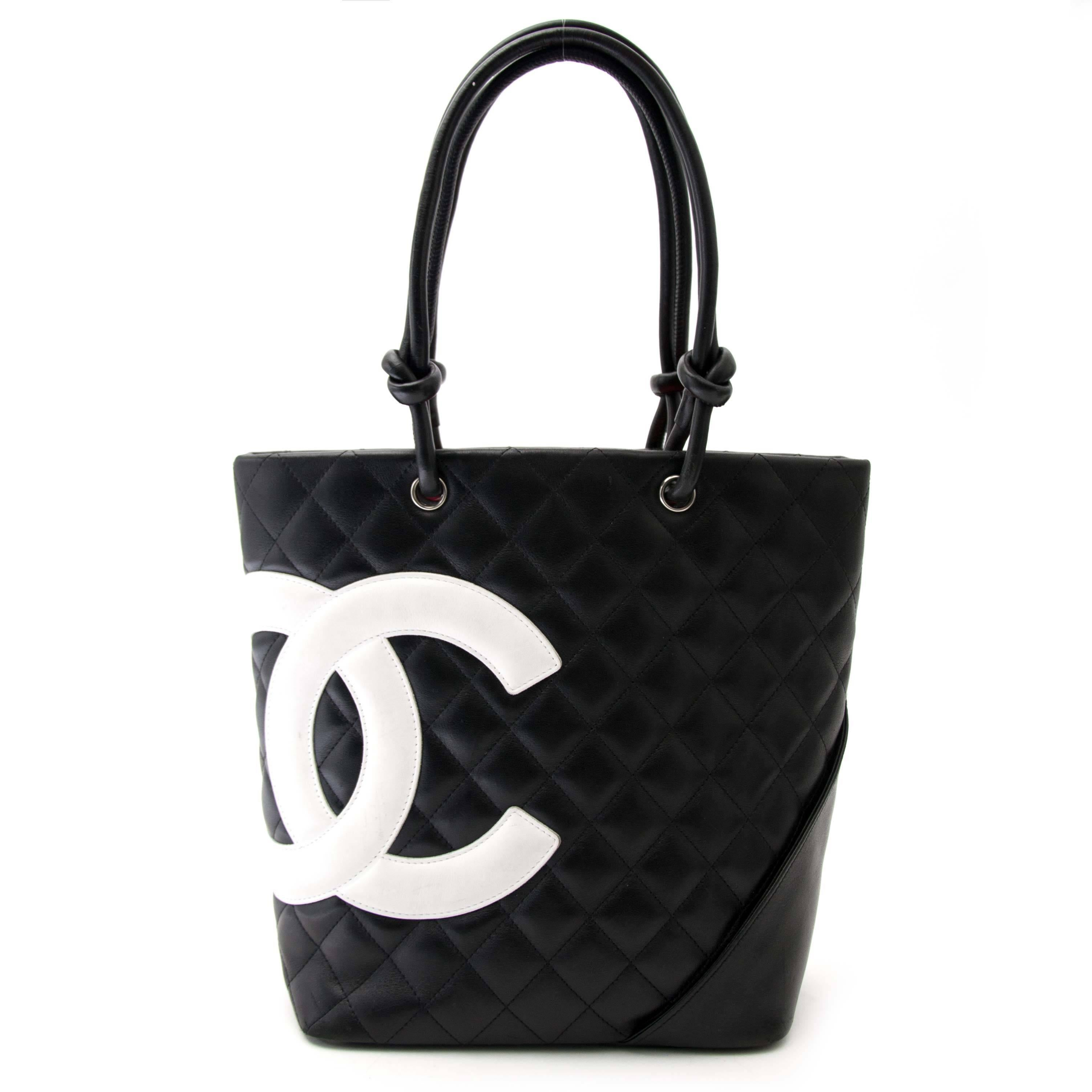 0252ee99d9b83d ... medium flap bag. Chanel Bon Quilted Black And White Small Tote At  1stdibs
