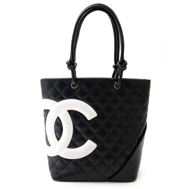 21b868bd2295 Chanel Cambon Quilted Black And White Small Tote In Excellent Condition For  Sale In Antwerp,