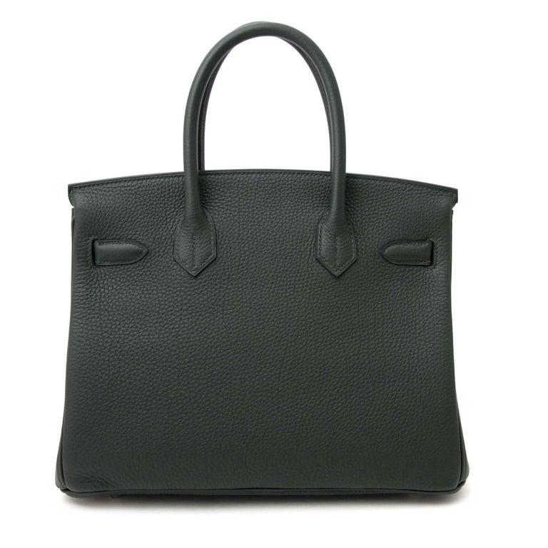 Black Hermes Birkin 30 Togo Vert Fonce PHW For Sale