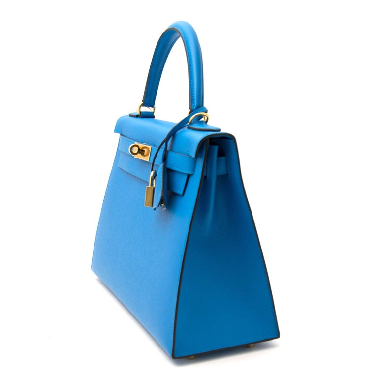 Blue Hermès Kelly Sellier 28 Epsom Bleu Zanzibar GHW For Sale