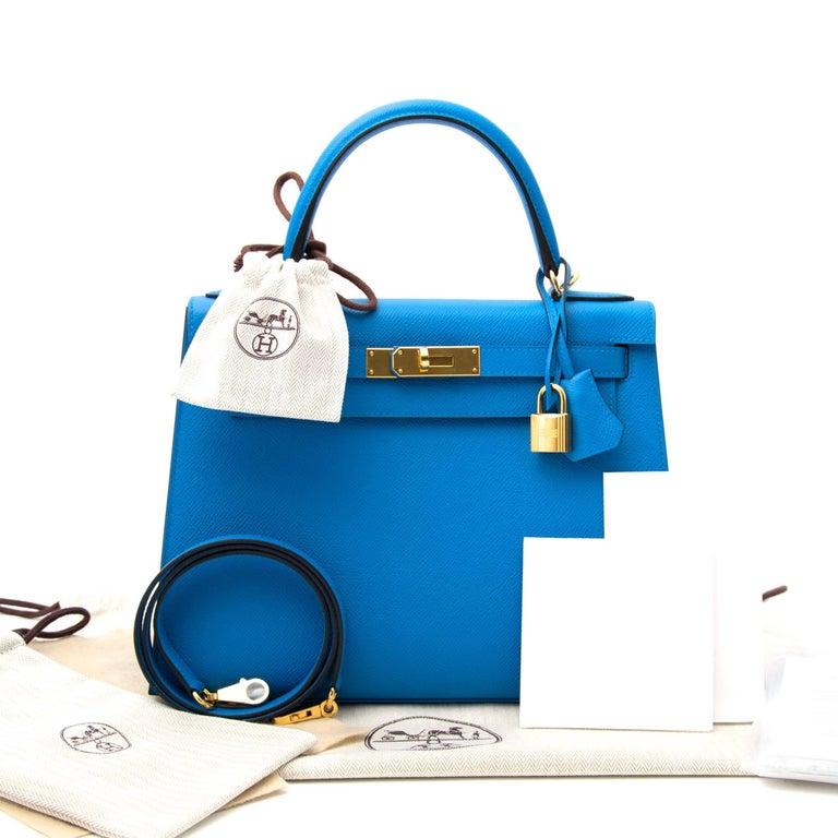 Hermès Kelly Sellier 28 Epsom Bleu Zanzibar GHW For Sale 2