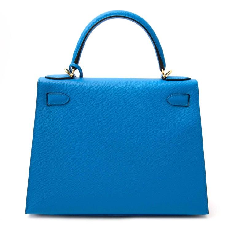 Hermès Kelly Sellier 28 Epsom Bleu Zanzibar GHW In New Condition For Sale In Antwerp, BE
