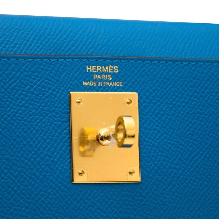 Hermès Kelly Sellier 28 Epsom Bleu Zanzibar GHW For Sale 1