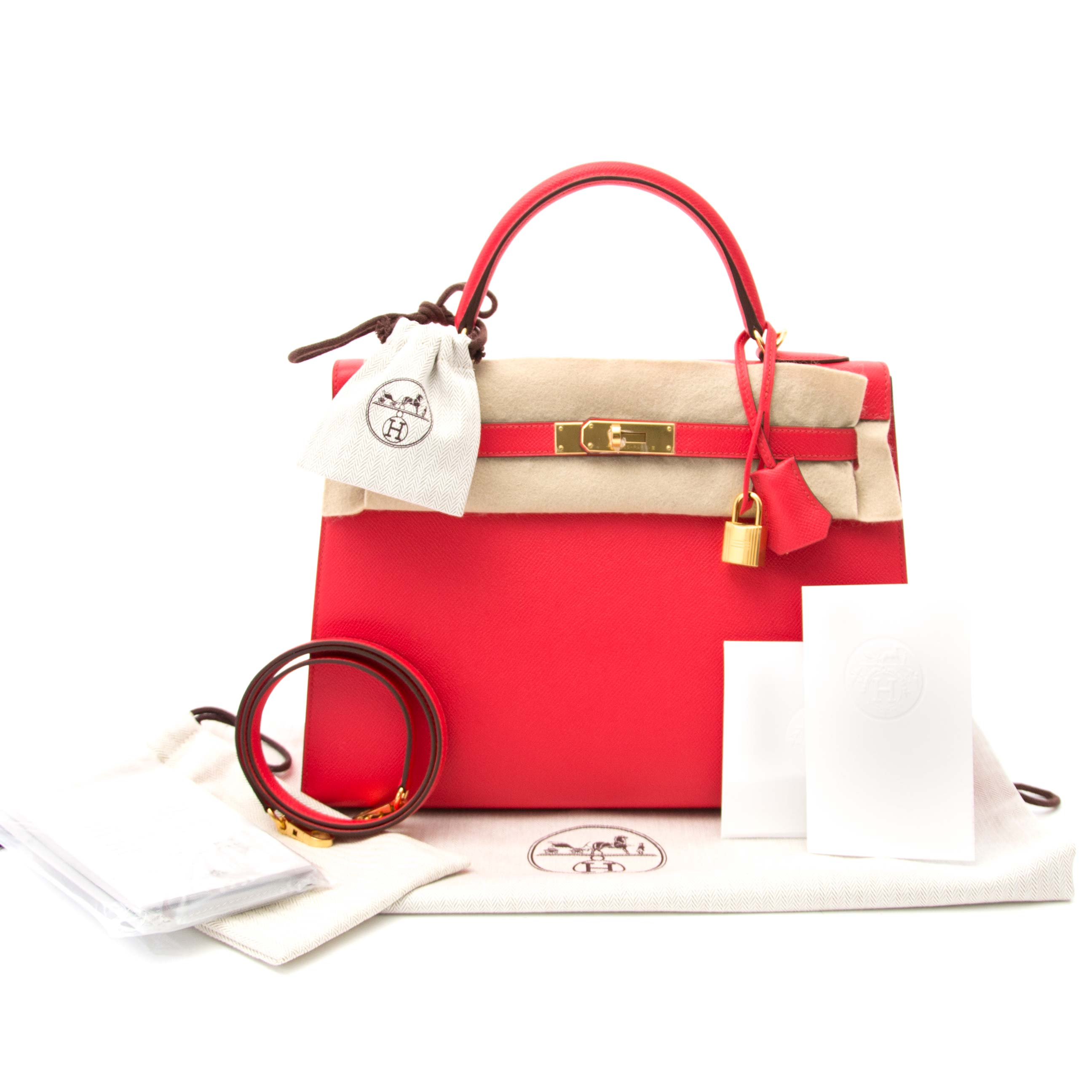 NEVER USED Hermès Kelly Sellier 32 Epsom Rouge Tomate GHW at 1stdibs c8589db96832c