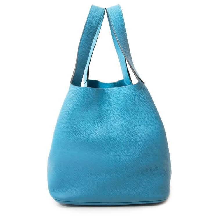 Women's or Men's  Hermes Turquoise 26 Picotin Clemence Taurillon For Sale