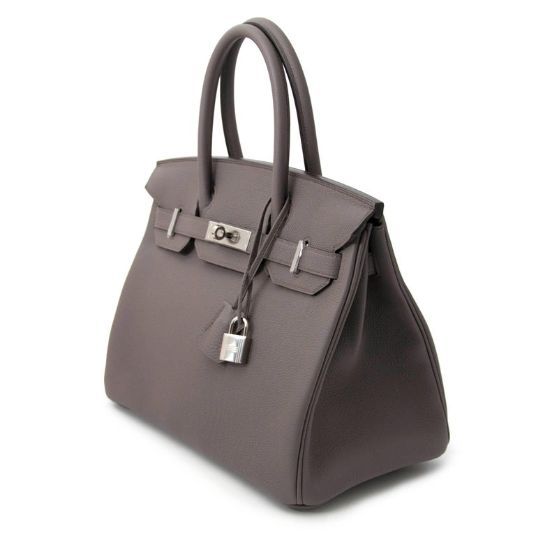 Women's or Men's Never Used Hermes Birkin 30 Etain Togo PHW For Sale