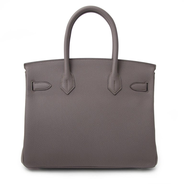 Gray Never Used Hermes Birkin 30 Etain Togo PHW For Sale