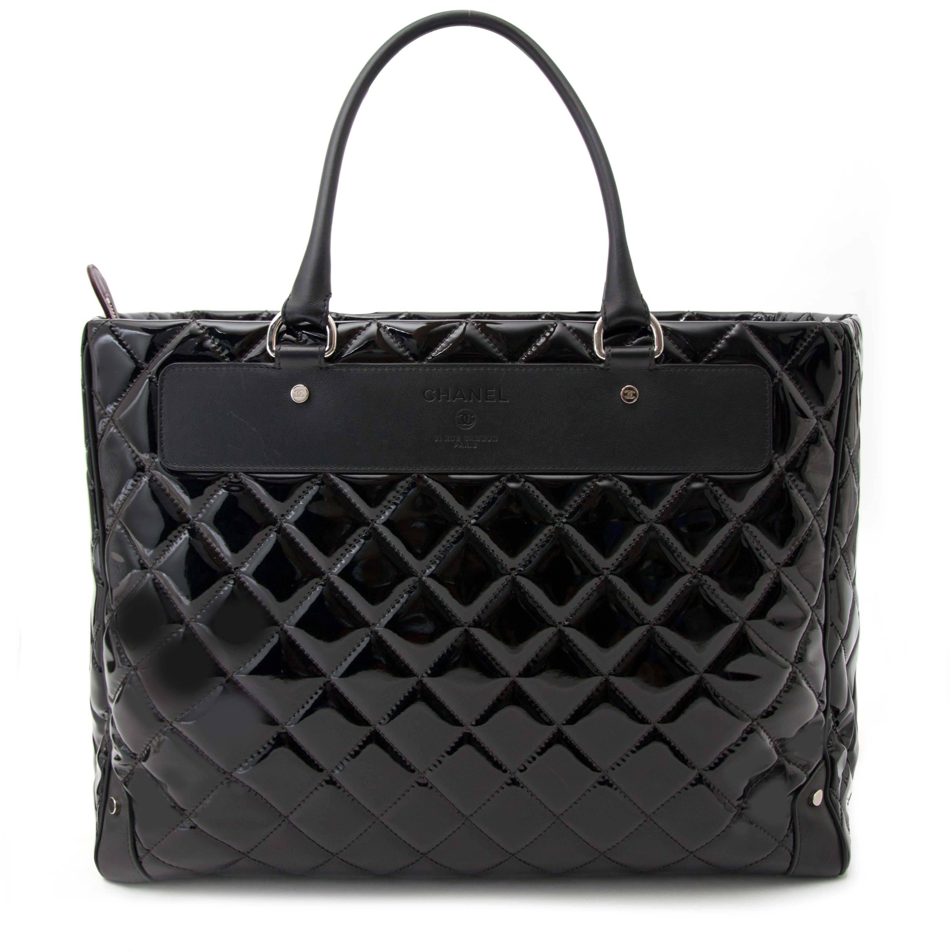 67c336153a2e Chanel Vinyl Quilted Calfskin Travel Tote For Sale at 1stdibs