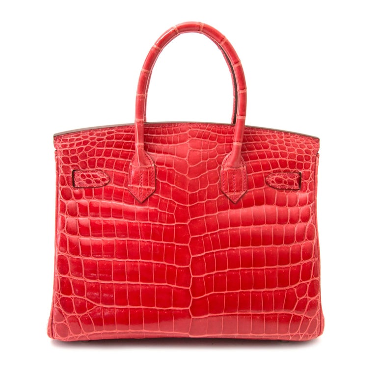 Hermès Birkin 30 Crocodile Niloticus Matte Geranium For Sale 1