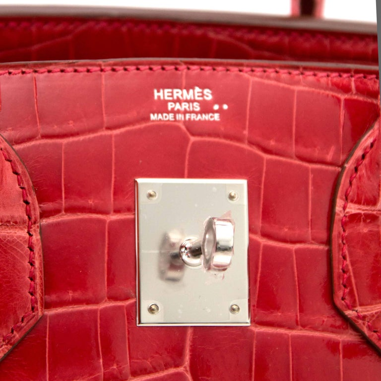 Women's Hermès Birkin 30 Crocodile Niloticus Matte Geranium For Sale