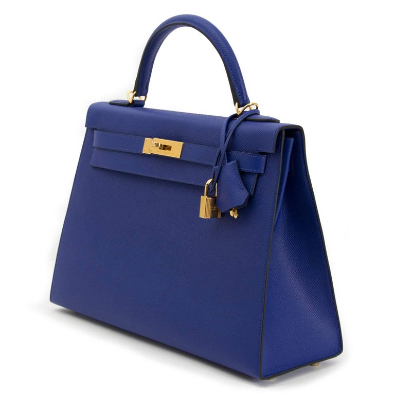 Hermès Kelly 32 Sellier Bleu Electrique Epsom GHW In New Condition For Sale In Antwerp, BE