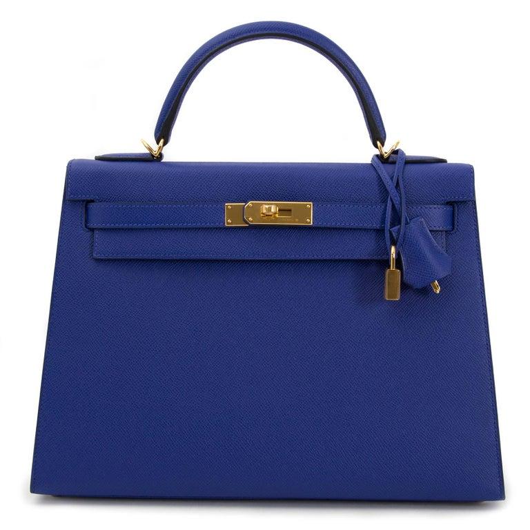 Women's or Men's Hermès Kelly 32 Sellier Bleu Electrique Epsom GHW For Sale