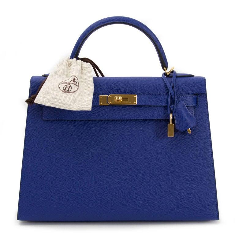 Purple Hermès Kelly 32 Sellier Bleu Electrique Epsom GHW For Sale
