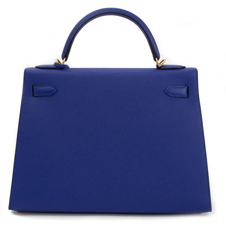 Hermès Kelly 32 Sellier Bleu Electrique Epsom GHW For Sale 2