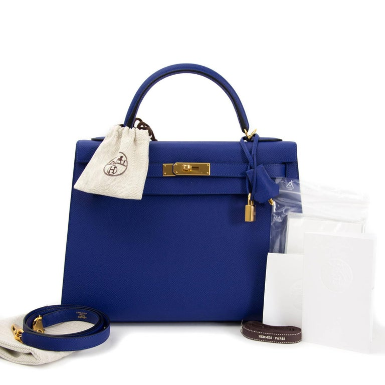 This brand new Hermès Kelly 32 Sellier Bleu Electrique Epsom GHW comes with full set. The Kelly is one of the most iconic bags of all time. This precious one comes in a vibrant Bleu Electrique color with gold hardware details. Full set, everything