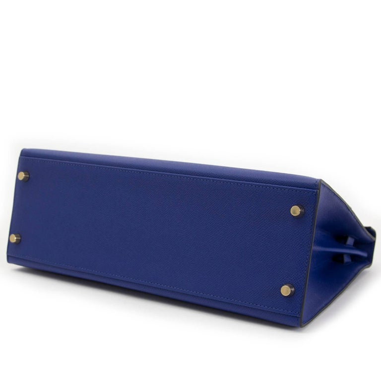 Hermès Kelly 32 Sellier Bleu Electrique Epsom GHW For Sale 3