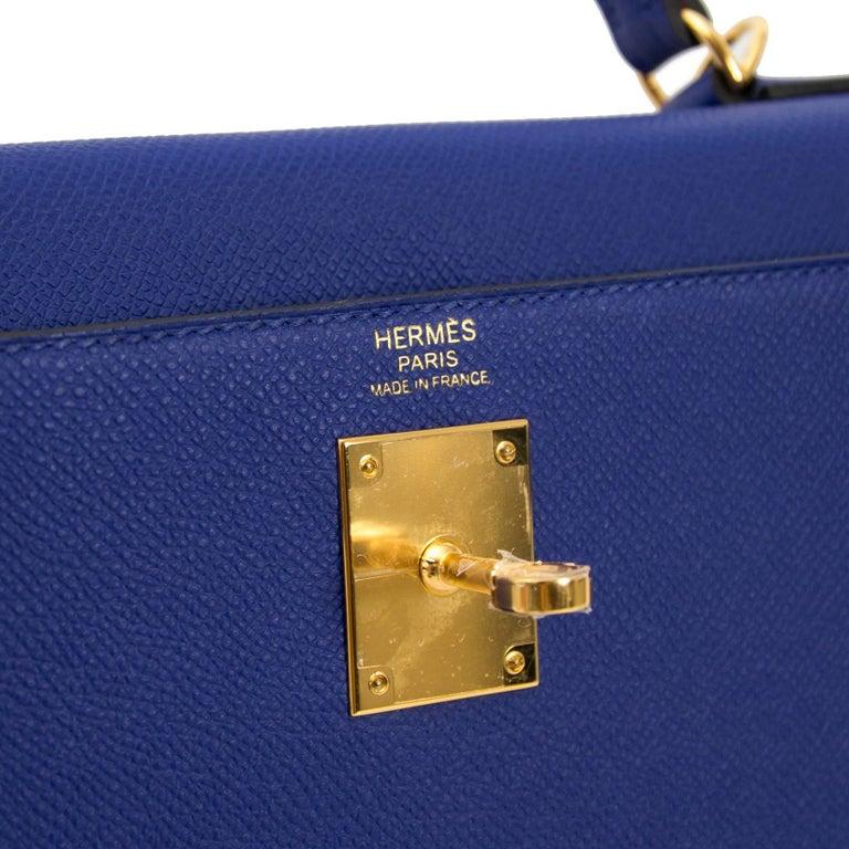 Hermès Kelly 32 Sellier Bleu Electrique Epsom GHW For Sale 1