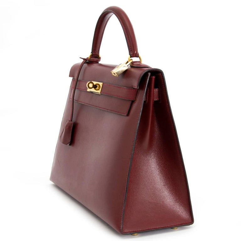 Women's or Men's Hermes Kelly Sellier 32 Bordeaux Box Calf For Sale