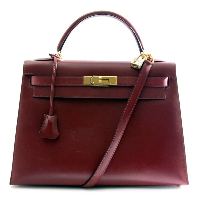 Hermes Kelly Sellier 32 Bordeaux Box Calf For Sale 1