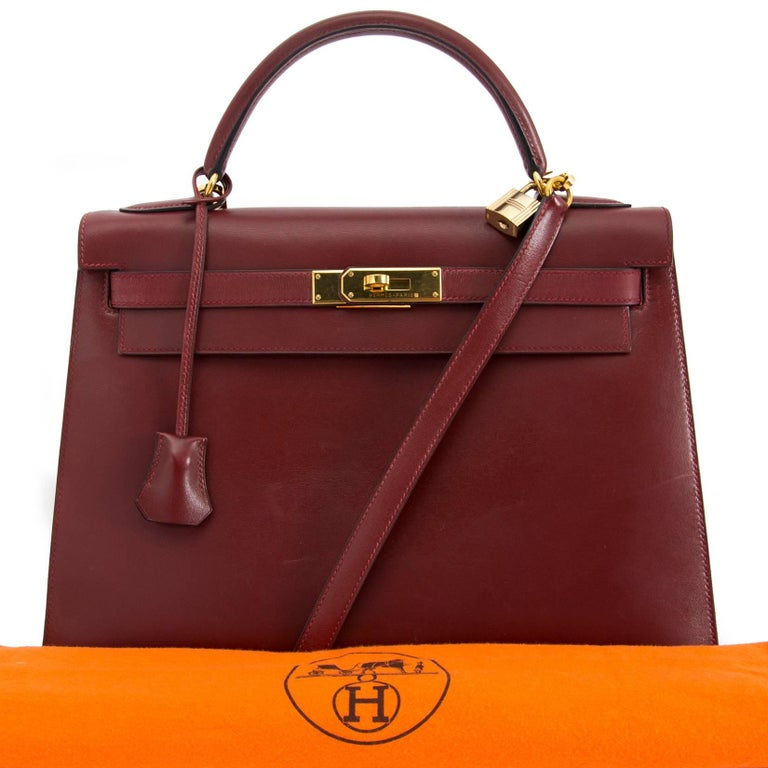 Hermes Kelly Sellier 32 Bordeaux Box Calf In Good Condition For Sale In Antwerp, BE