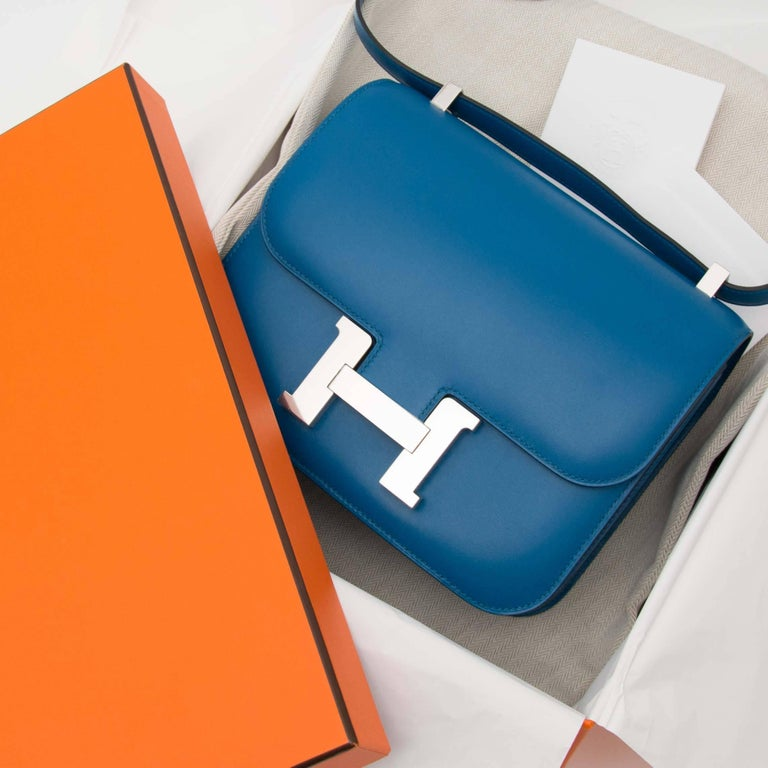 Blue Never Used Hermes Constance III 24 Bleu Izmir Veau Tadelakt PHW For Sale