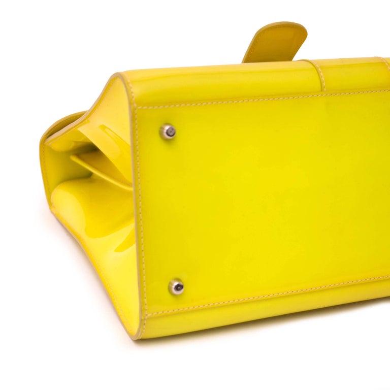 Delvaux Limited Patent Fluorescent Yellow Brillant closure Bag For Sale 1