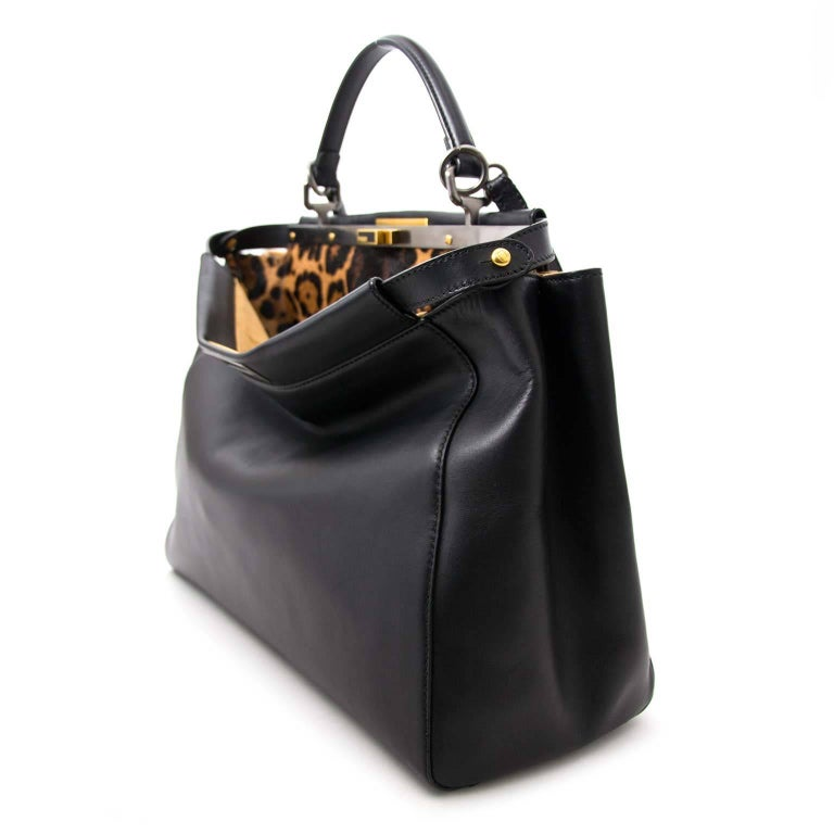 1474532753fb Fendi Black Leopard-Lined Peekaboo Large Bag at 1stdibs