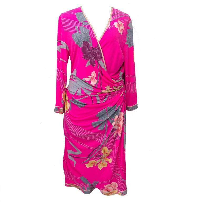 Leonard Bright Pink Floral Printed Dress