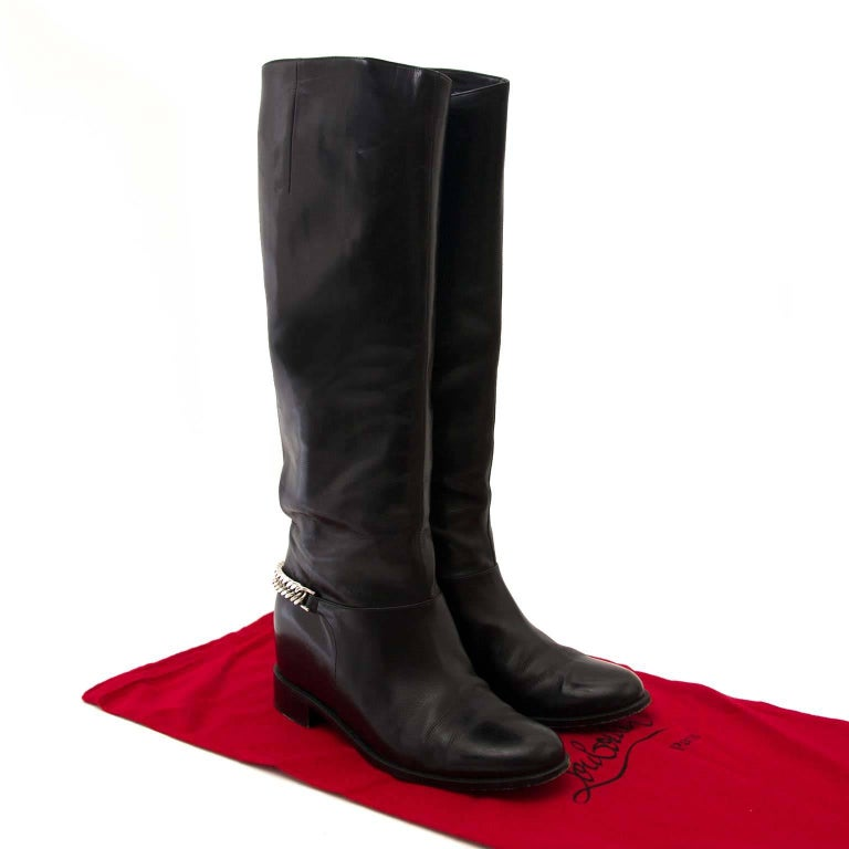 watch 72d57 6a525 Christian Louboutin Black Cate Silver Chain Flat Calf Riding Boots - Size 40